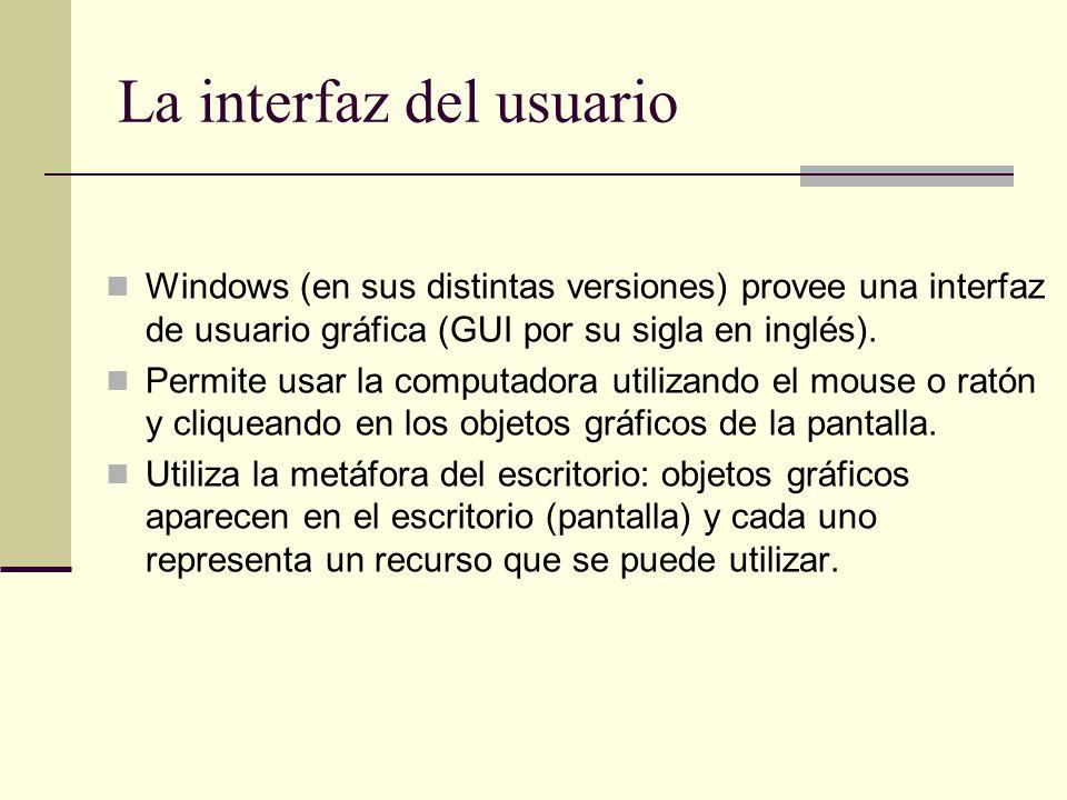 La interfaz del usuario Windows (en sus distintas versiones) provee una interfaz de usuario gráfica (GUI por su sigla en inglés). Permite usar la comp