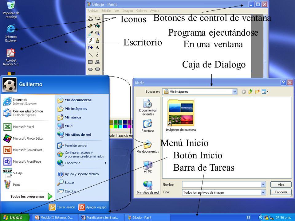 Escritorio Iconos Botón Inicio Menú Inicio Barra de Tareas Caja de Dialogo Programa ejecutándose En una ventana Botones de control de ventana