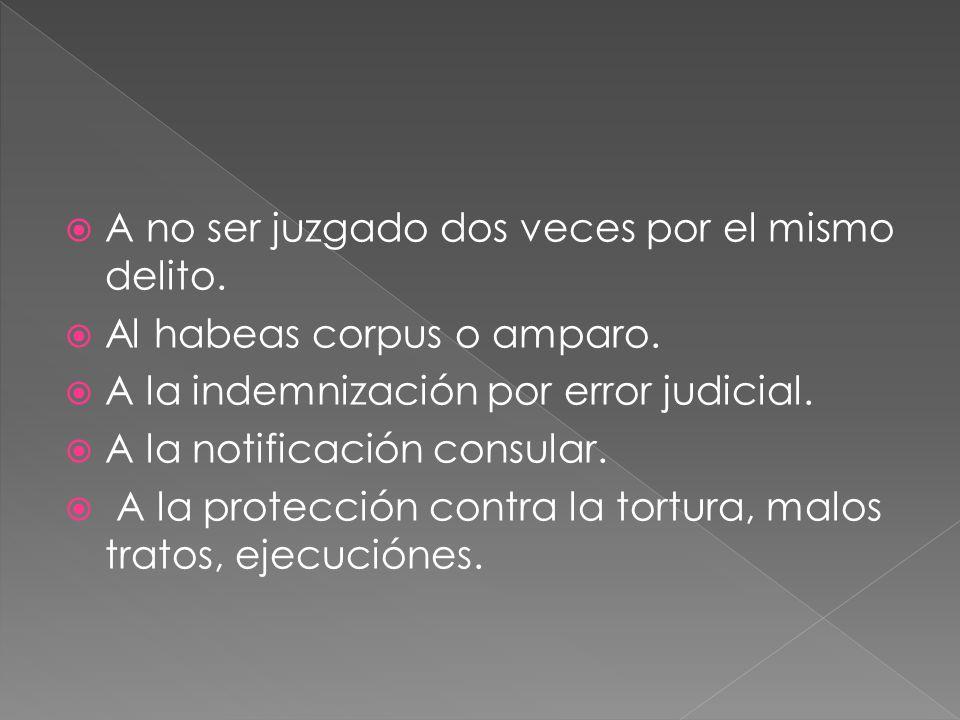A no ser juzgado dos veces por el mismo delito. Al habeas corpus o amparo.