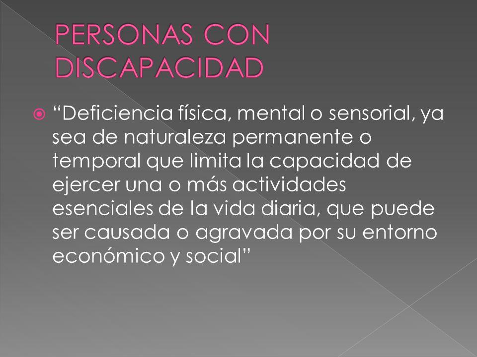 Deficiencia física, mental o sensorial, ya sea de naturaleza permanente o temporal que limita la capacidad de ejercer una o más actividades esenciales de la vida diaria, que puede ser causada o agravada por su entorno económico y social