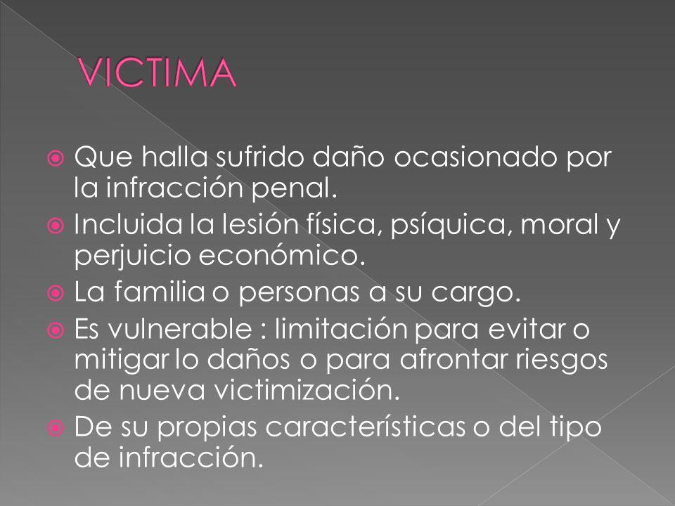 Que halla sufrido daño ocasionado por la infracción penal. Incluida la lesión física, psíquica, moral y perjuicio económico. La familia o personas a s