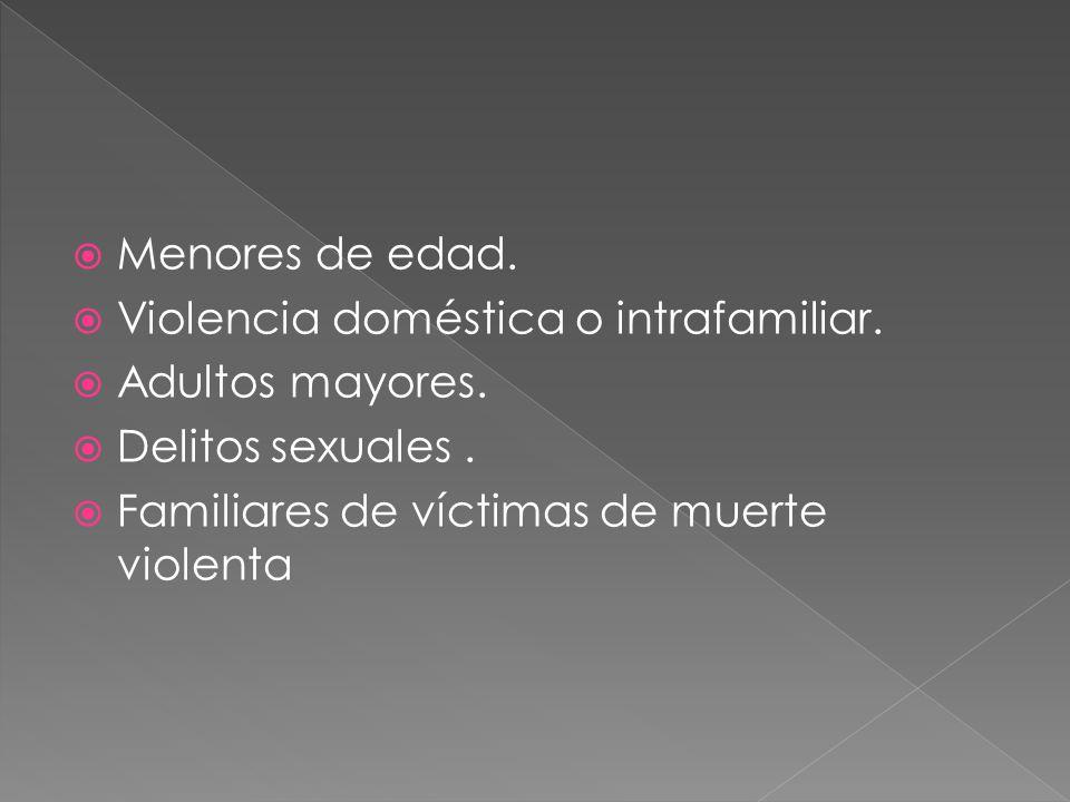 Menores de edad. Violencia doméstica o intrafamiliar. Adultos mayores. Delitos sexuales. Familiares de víctimas de muerte violenta