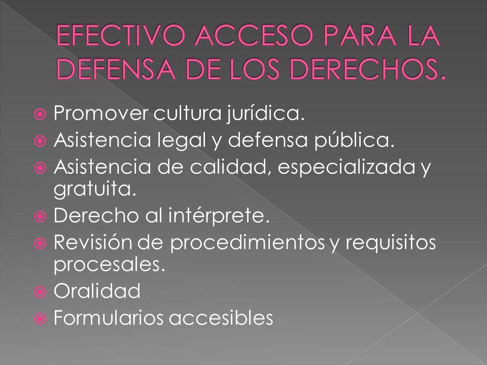 Promover cultura jurídica. Asistencia legal y defensa pública. Asistencia de calidad, especializada y gratuita. Derecho al intérprete. Revisión de pro
