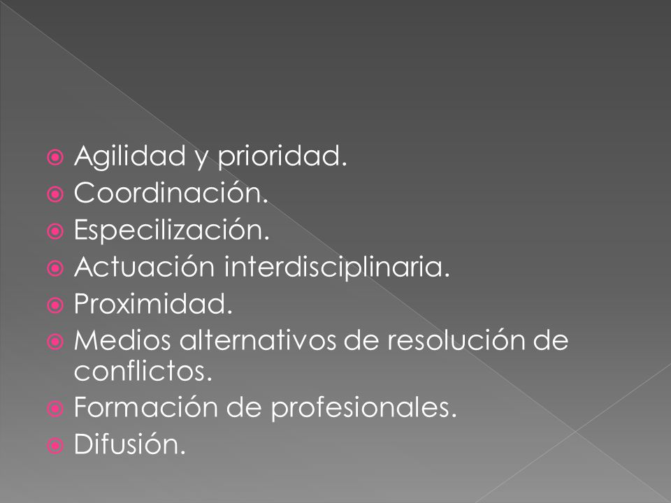 Agilidad y prioridad. Coordinación. Especilización. Actuación interdisciplinaria. Proximidad. Medios alternativos de resolución de conflictos. Formaci