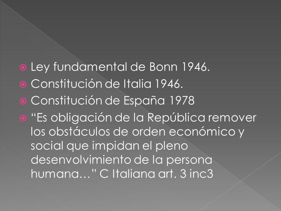 Ley fundamental de Bonn 1946. Constitución de Italia 1946. Constitución de España 1978 Es obligación de la República remover los obstáculos de orden e