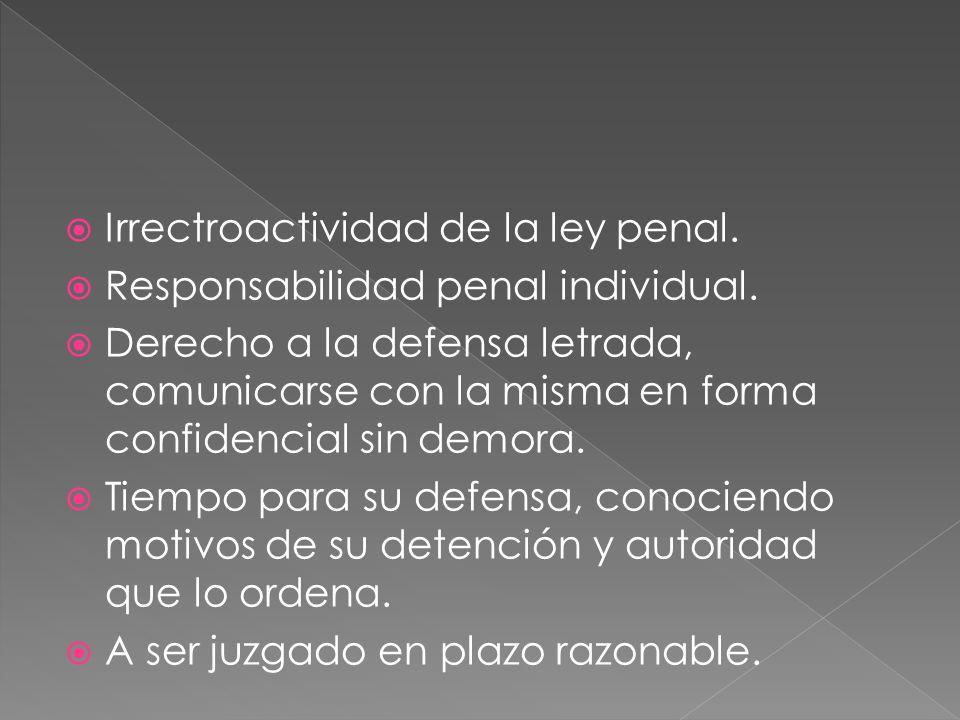 Irrectroactividad de la ley penal. Responsabilidad penal individual. Derecho a la defensa letrada, comunicarse con la misma en forma confidencial sin