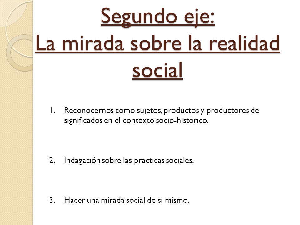 Segundo eje: La mirada sobre la realidad social 1.Reconocernos como sujetos, productos y productores de significados en el contexto socio-histórico. 2
