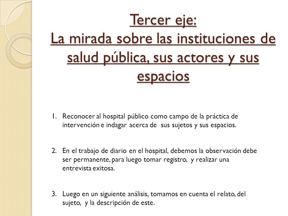Tercer eje: La mirada sobre las instituciones de salud pública, sus actores y sus espacios 1.Reconocer al hospital público como campo de la práctica d