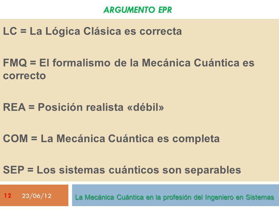ARGUMENTO EPR LC = La Lógica Clásica es correcta FMQ = El formalismo de la Mecánica Cuántica es correcto REA = Posición realista «débil» COM = La Mecá