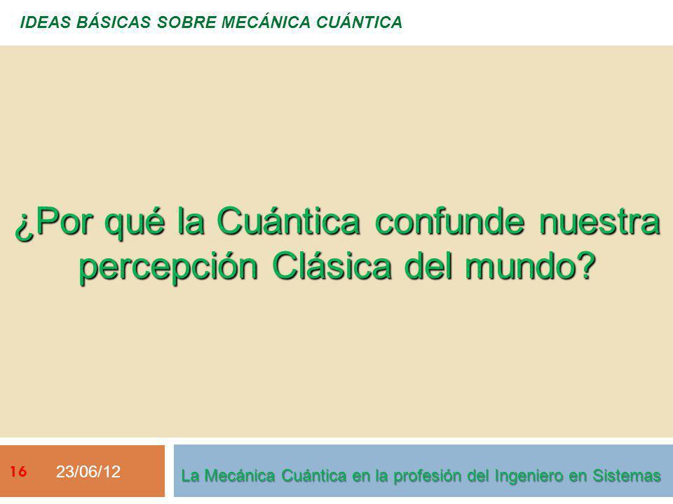 23/06/12 IDEAS BÁSICAS SOBRE MECÁNICA CUÁNTICA ¿Por qué la Cuántica confunde nuestra percepción Clásica del mundo.