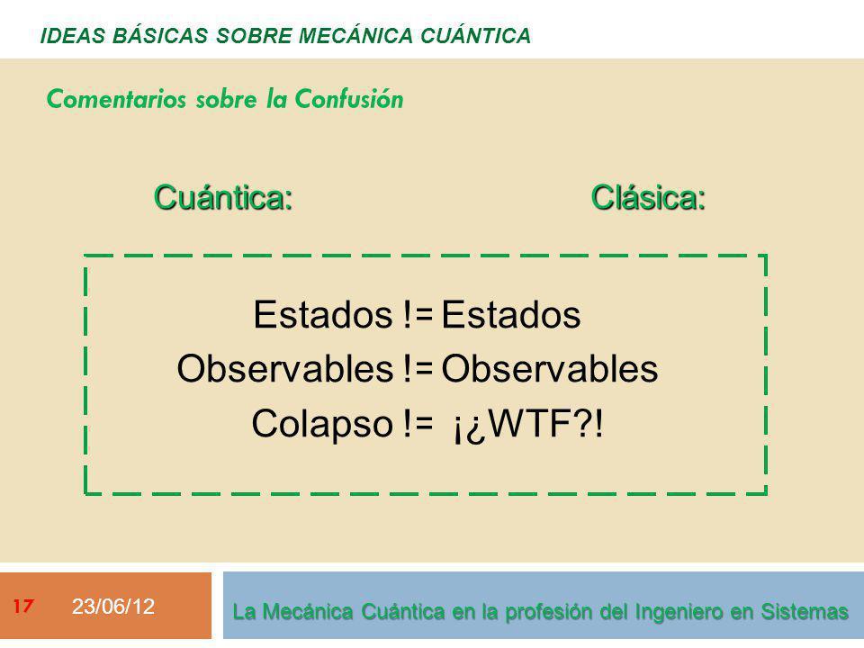 23/06/12 17 IDEAS BÁSICAS SOBRE MECÁNICA CUÁNTICA Cuántica: Estados != Observables != Colapso !=Clásica: Estados Observables ¡¿WTF?! Comentarios sobre