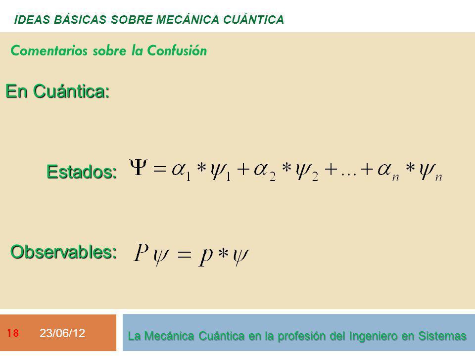 23/06/12 18 IDEAS BÁSICAS SOBRE MECÁNICA CUÁNTICA En Cuántica: Estados: Estados: Observables: Observables: Comentarios sobre la Confusión La Mecánica Cuántica en la profesión del Ingeniero en Sistemas