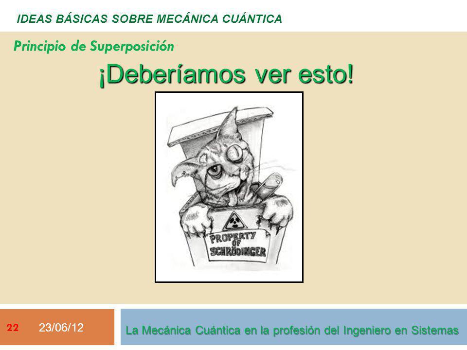 23/06/12 22 IDEAS BÁSICAS SOBRE MECÁNICA CUÁNTICA ¡Deberíamos ver esto! Principio de Superposición La Mecánica Cuántica en la profesión del Ingeniero