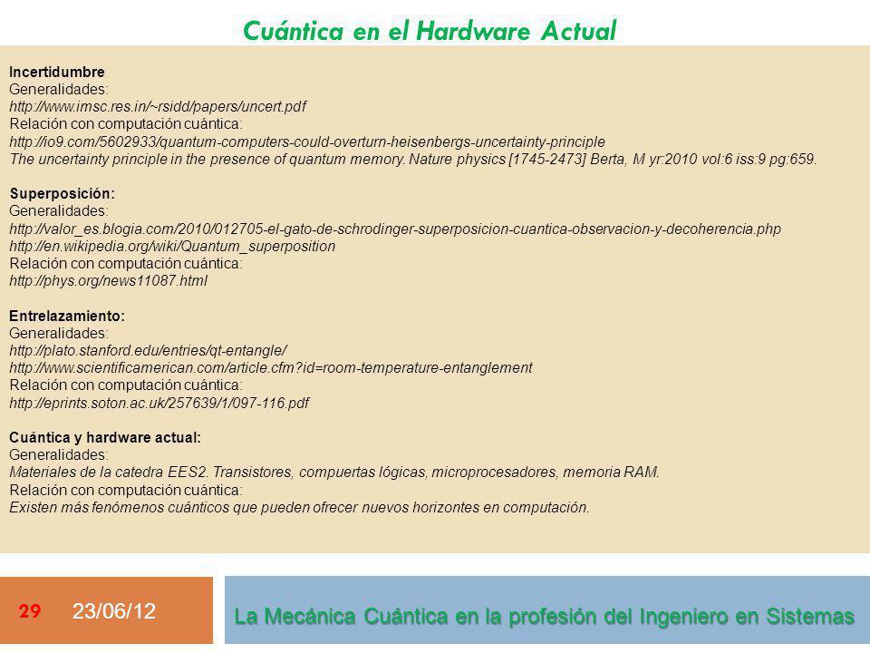 Cuántica en el Hardware Actual 23/06/12 29 Incertidumbre Generalidades: http://www.imsc.res.in/~rsidd/papers/uncert.pdf Relación con computación cuánt