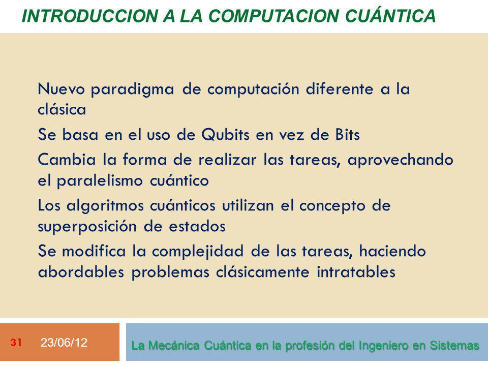 23/06/12 31 La Mecánica Cuántica en la profesión del Ingeniero en Sistemas Nuevo paradigma de computación diferente a la clásica Se basa en el uso de