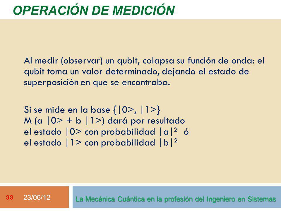 23/06/12 33 OPERACIÓN DE MEDICIÓN La Mecánica Cuántica en la profesión del Ingeniero en Sistemas Al medir (observar) un qubit, colapsa su función de o