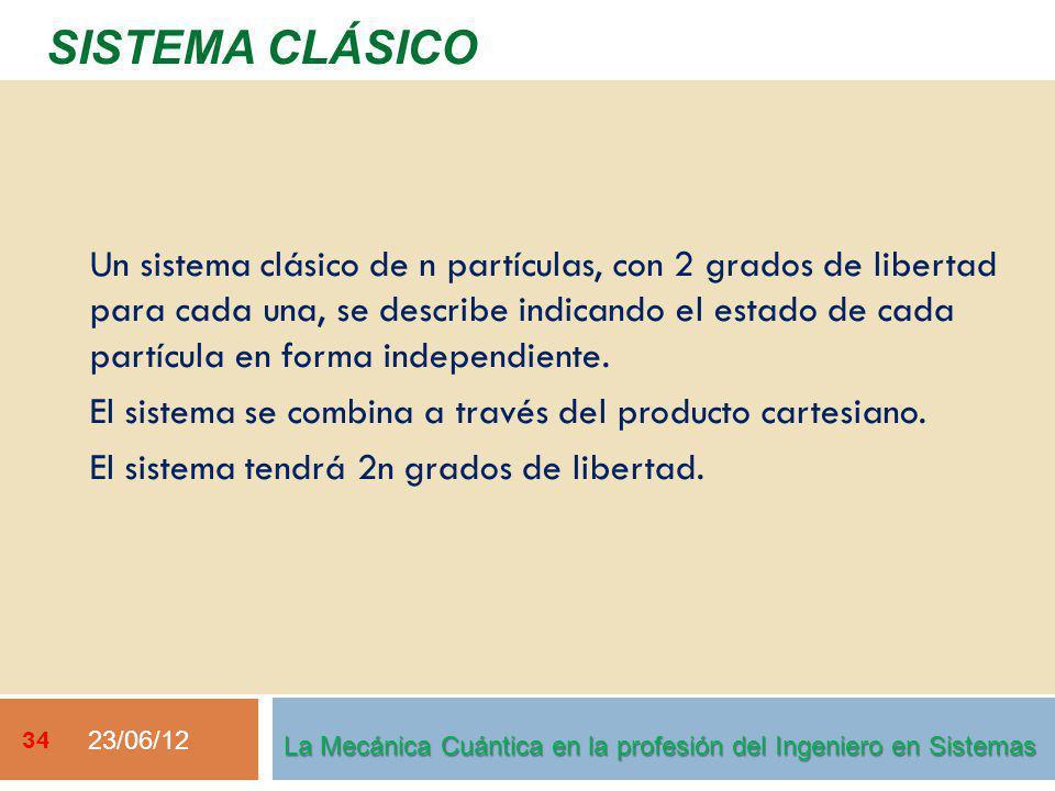 23/06/12 34 SISTEMA CLÁSICO La Mecánica Cuántica en la profesión del Ingeniero en Sistemas Un sistema clásico de n partículas, con 2 grados de libertad para cada una, se describe indicando el estado de cada partícula en forma independiente.