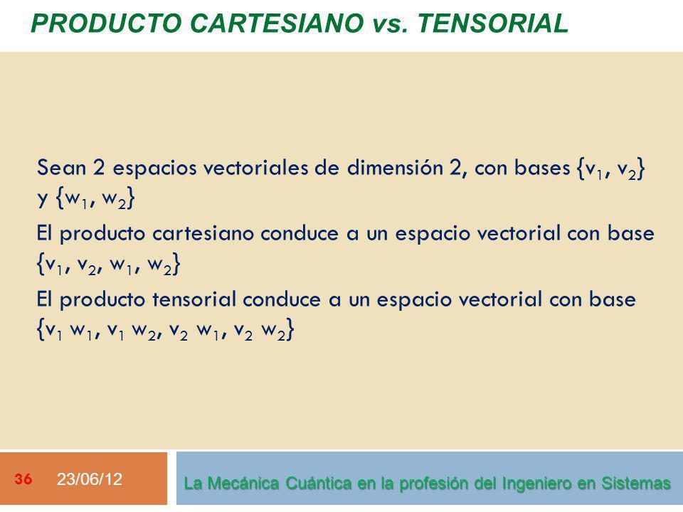 23/06/12 36 PRODUCTO CARTESIANO vs. TENSORIAL La Mecánica Cuántica en la profesión del Ingeniero en Sistemas Sean 2 espacios vectoriales de dimensión