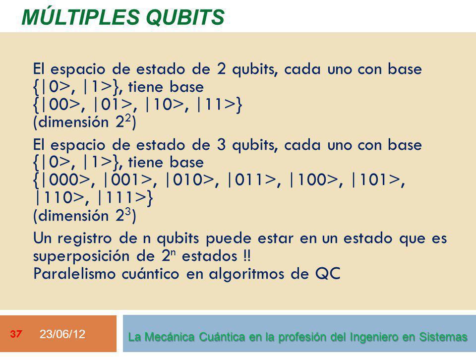 23/06/12 37 MÚLTIPLES QUBITS La Mecánica Cuántica en la profesión del Ingeniero en Sistemas El espacio de estado de 2 qubits, cada uno con base {|0>, |1>}, tiene base {|00>, |01>, |10>, |11>} (dimensión 2 2 ) El espacio de estado de 3 qubits, cada uno con base {|0>, |1>}, tiene base {|000>, |001>, |010>, |011>, |100>, |101>, |110>, |111>} (dimensión 2 3 ) Un registro de n qubits puede estar en un estado que es superposición de 2 n estados !.
