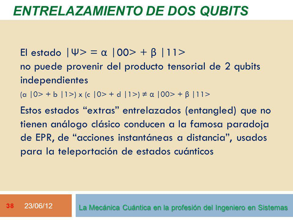 23/06/12 38 ENTRELAZAMIENTO DE DOS QUBITS La Mecánica Cuántica en la profesión del Ingeniero en Sistemas El estado | Ψ > = α |00> + β |11> no puede provenir del producto tensorial de 2 qubits independientes (a |0> + b |1>) x (c |0> + d |1>) α |00> + β |11> Estos estados extras entrelazados (entangled) que no tienen análogo clásico conducen a la famosa paradoja de EPR, de acciones instantáneas a distancia, usados para la teleportación de estados cuánticos