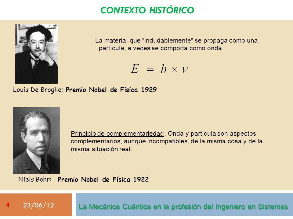 CONTEXTO HISTÓRICO 23/06/12 Louis De Broglie: Premio Nobel de Física 1929 La materia, que indudablemente se propaga como una partícula, a veces se comporta como onda Niels Bohr: Premio Nobel de Física 1922 Principio de complementariedad : Onda y partícula son aspectos complementarios, aunque incompatibles, de la misma cosa y de la misma situación real.