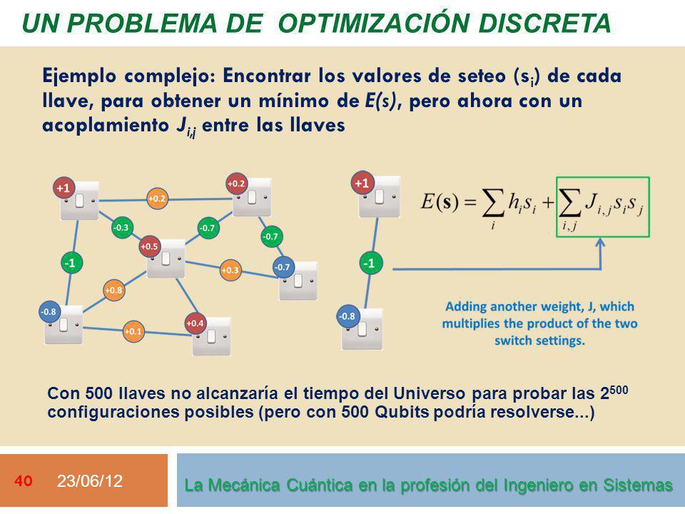 23/06/12 40 La Mecánica Cuántica en la profesión del Ingeniero en Sistemas Ejemplo complejo: Encontrar los valores de seteo (s i ) de cada llave, para obtener un mínimo de E(s), pero ahora con un acoplamiento J i,j entre las llaves Con 500 llaves no alcanzaría el tiempo del Universo para probar las 2 500 configuraciones posibles (pero con 500 Qubits podría resolverse...) UN PROBLEMA DE OPTIMIZACIÓN DISCRETA