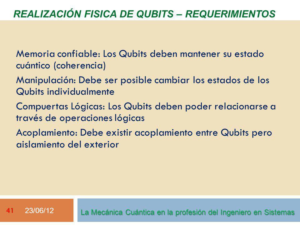23/06/12 41 REALIZACIÓN FISICA DE QUBITS – REQUERIMIENTOS La Mecánica Cuántica en la profesión del Ingeniero en Sistemas Memoria confiable: Los Qubits