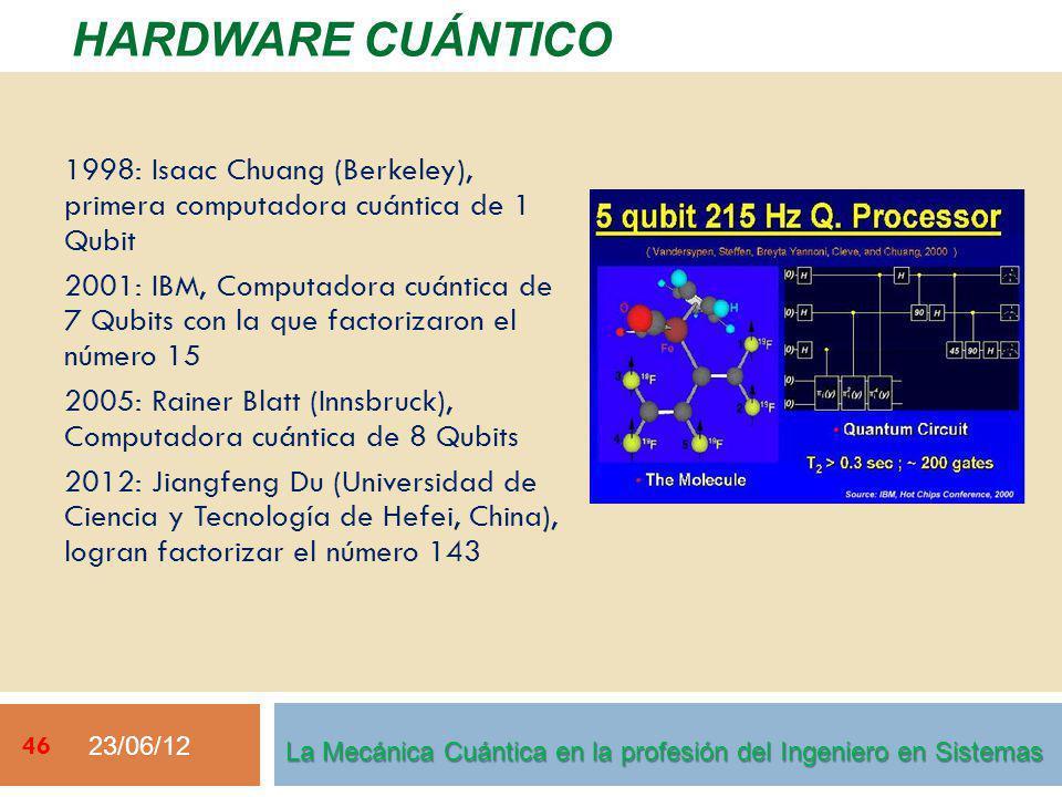 23/06/12 46 HARDWARE CUÁNTICO La Mecánica Cuántica en la profesión del Ingeniero en Sistemas 1998: Isaac Chuang (Berkeley), primera computadora cuántica de 1 Qubit 2001: IBM, Computadora cuántica de 7 Qubits con la que factorizaron el número 15 2005: Rainer Blatt (Innsbruck), Computadora cuántica de 8 Qubits 2012: Jiangfeng Du (Universidad de Ciencia y Tecnología de Hefei, China), logran factorizar el número 143