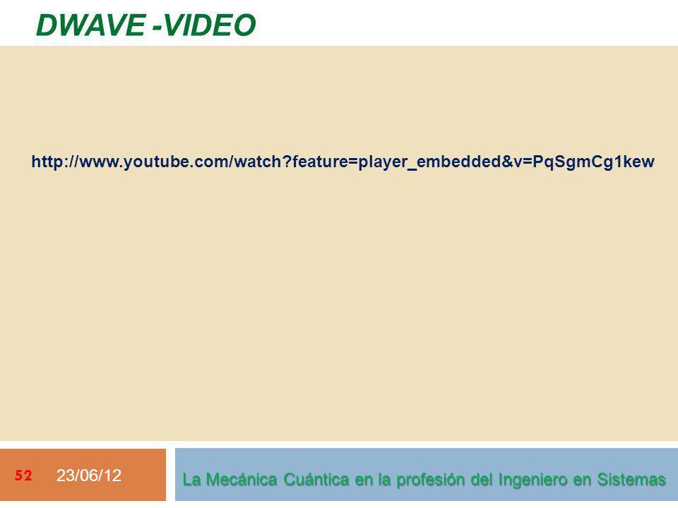23/06/12 52 DWAVE -VIDEO La Mecánica Cuántica en la profesión del Ingeniero en Sistemas http://www.youtube.com/watch?feature=player_embedded&v=PqSgmCg