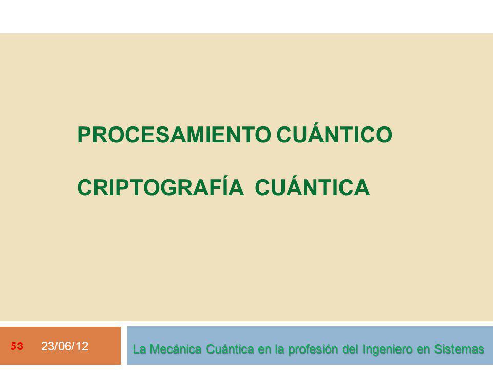23/06/12 53 La Mecánica Cuántica en la profesión del Ingeniero en Sistemas PROCESAMIENTO CUÁNTICO CRIPTOGRAFÍA CUÁNTICA