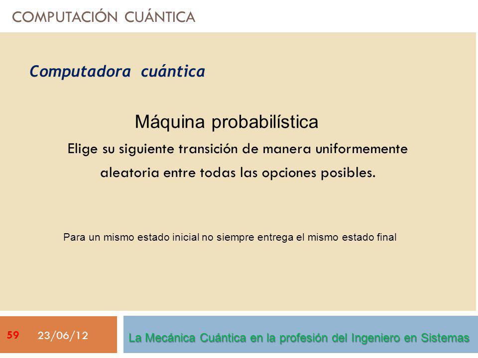 COMPUTACIÓN CUÁNTICA Elige su siguiente transición de manera uniformemente aleatoria entre todas las opciones posibles. 23/06/12 Máquina probabilístic