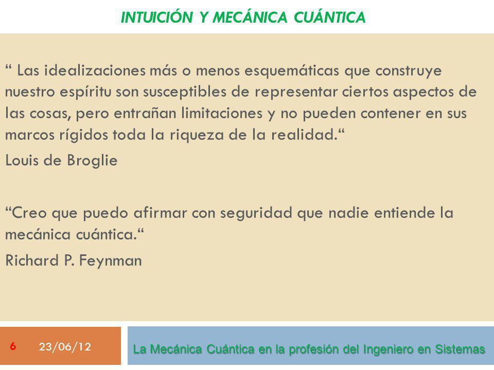 23/06/12 27 IDEAS BÁSICAS SOBRE MECÁNICA CUÁNTICA Entrelazamiento La Mecánica Cuántica en la profesión del Ingeniero en Sistemas