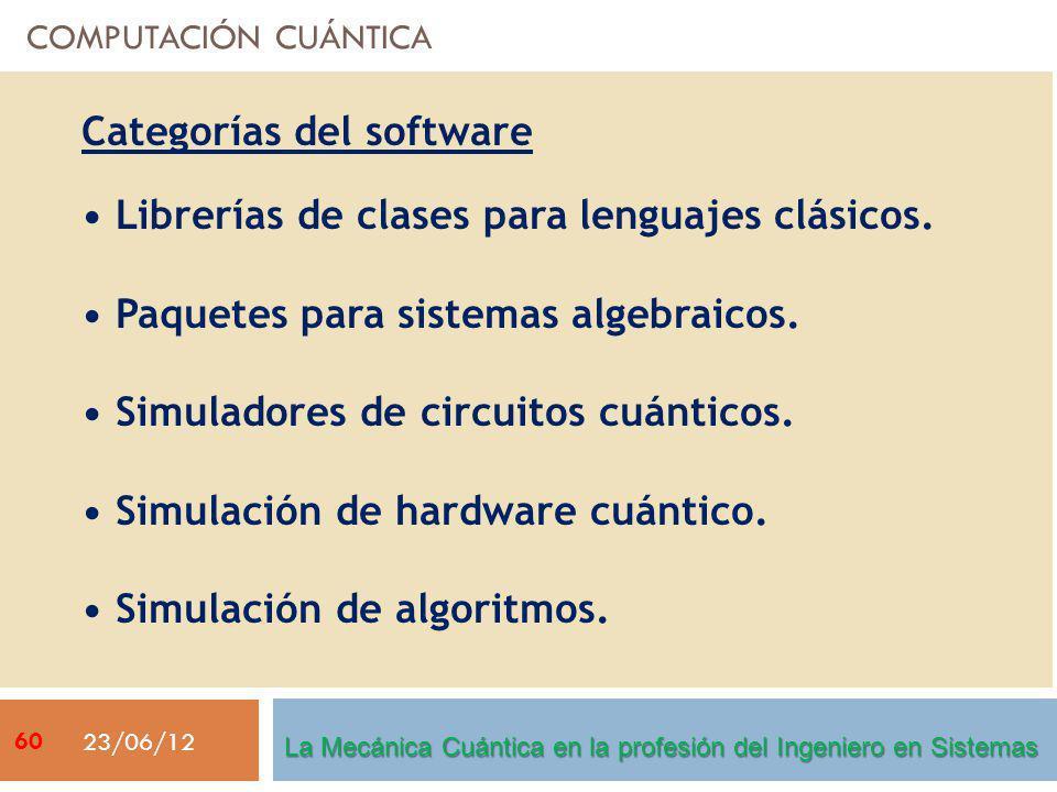 COMPUTACIÓN CUÁNTICA 23/06/12 Categorías del software Librerías de clases para lenguajes clásicos. Paquetes para sistemas algebraicos. Simuladores de