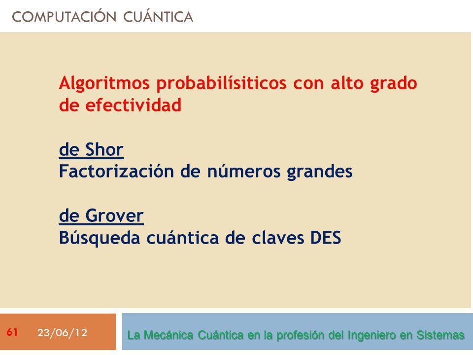 COMPUTACIÓN CUÁNTICA 23/06/12 Algoritmos probabilísiticos con alto grado de efectividad de Shor Factorización de números grandes de Grover Búsqueda cuántica de claves DES La Mecánica Cuántica en la profesión del Ingeniero en Sistemas 61