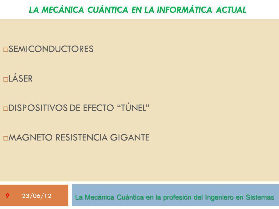 LA MECÁNICA CUÁNTICA EN LA INFORMÁTICA ACTUAL SEMICONDUCTORES LÁSER DISPOSITIVOS DE EFECTO TÚNEL MAGNETO RESISTENCIA GIGANTE 23/06/12 La Mecánica Cuántica en la profesión del Ingeniero en Sistemas 9