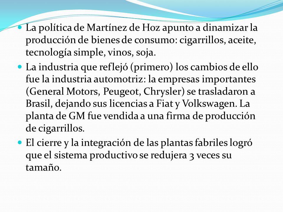 La política de Martínez de Hoz apunto a dinamizar la producción de bienes de consumo: cigarrillos, aceite, tecnología simple, vinos, soja. La industri