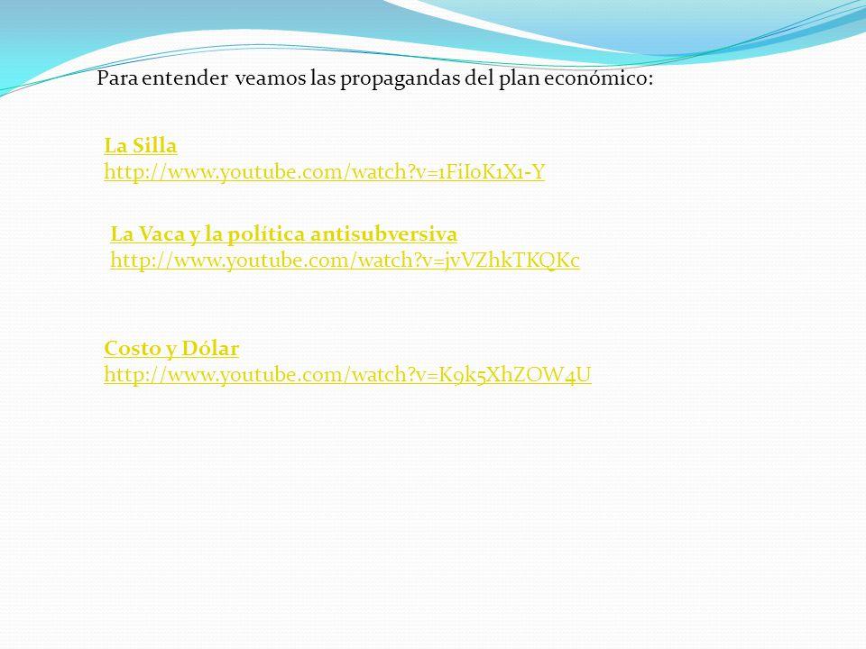Costo y Dólar http://www.youtube.com/watch?v=K9k5XhZOW4U La Silla http://www.youtube.com/watch?v=1FiIoK1X1-Y La Vaca y la política antisubversiva http