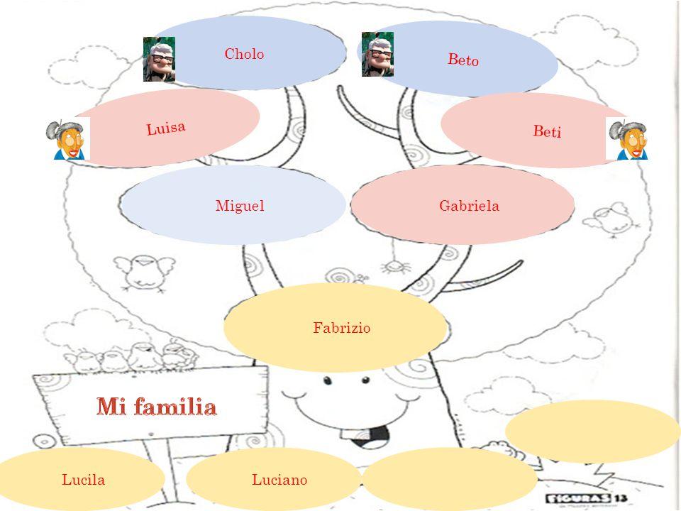 Cholo Beto Luisa Beti Gabriela Miguel Fabrizio Luciano Lucila