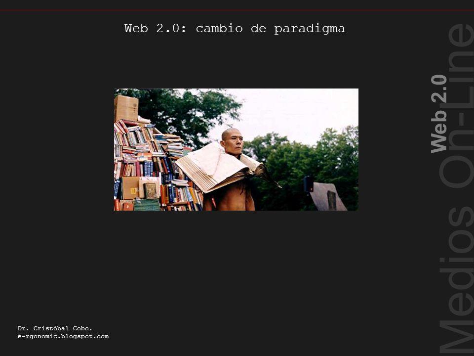Web 2.0: cambio de paradigma Medios On-Line Web 2.0 Dr. Cristóbal Cobo. e-rgonomic.blogspot.com Web 2.0: cambio de paradigma