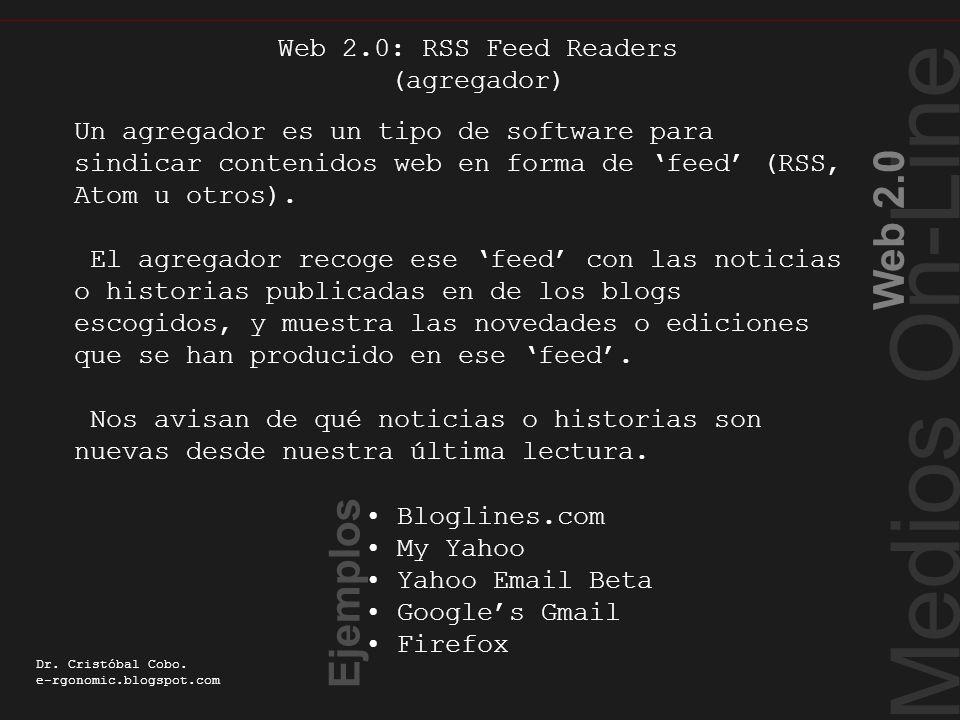 Medios On-Line Web 2.0 Dr. Cristóbal Cobo. e-rgonomic.blogspot.com RSS Feed Readers Un agregador es un tipo de software para sindicar contenidos web e