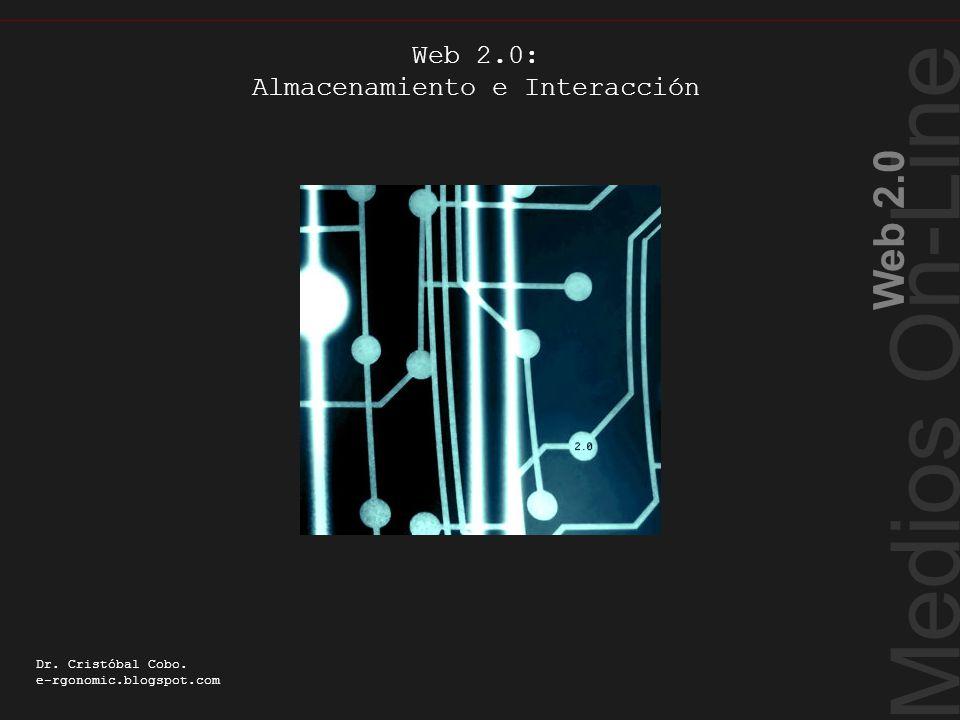 Medios On-Line Web 2.0 Dr. Cristóbal Cobo. e-rgonomic.blogspot.com Web 2.0: Almacenamiento e Interacción Almacenamiento e Interacción