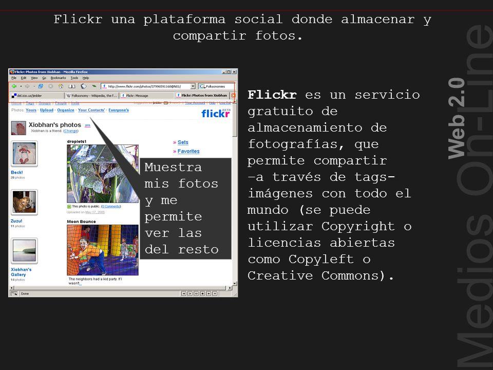 Medios On-Line Web 2.0 Flickr una plataforma social donde almacenar y compartir fotos. Flickr Muestra mis fotos y me permite ver las del resto Flickr