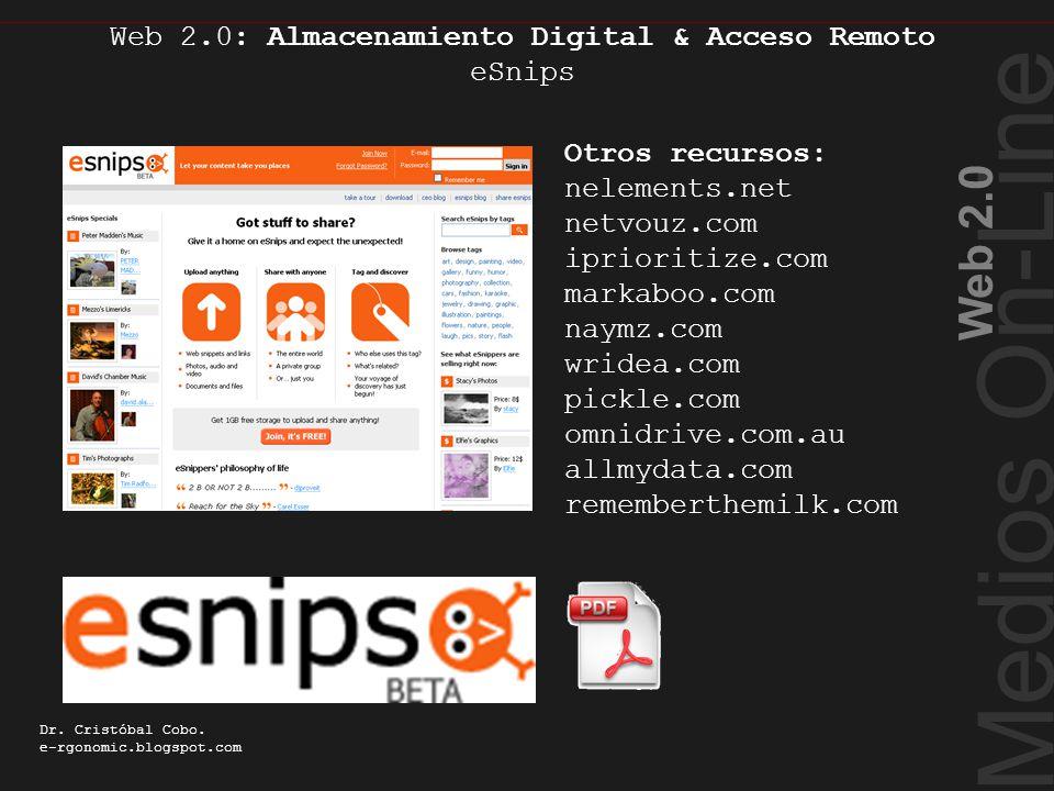 Medios On-Line Web 2.0 Dr. Cristóbal Cobo. e-rgonomic.blogspot.com Web 2.0: Almacenamiento Digital & Acceso Remoto eSnips Almacenamiento Digital Otros