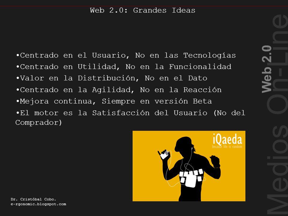 Cualidades Web 2.0 Medios On-Line Web 2.0 Dr. Cristóbal Cobo. e-rgonomic.blogspot.com Web 2.0: Grandes Ideas Centrado en el Usuario, No en las Tecnolo