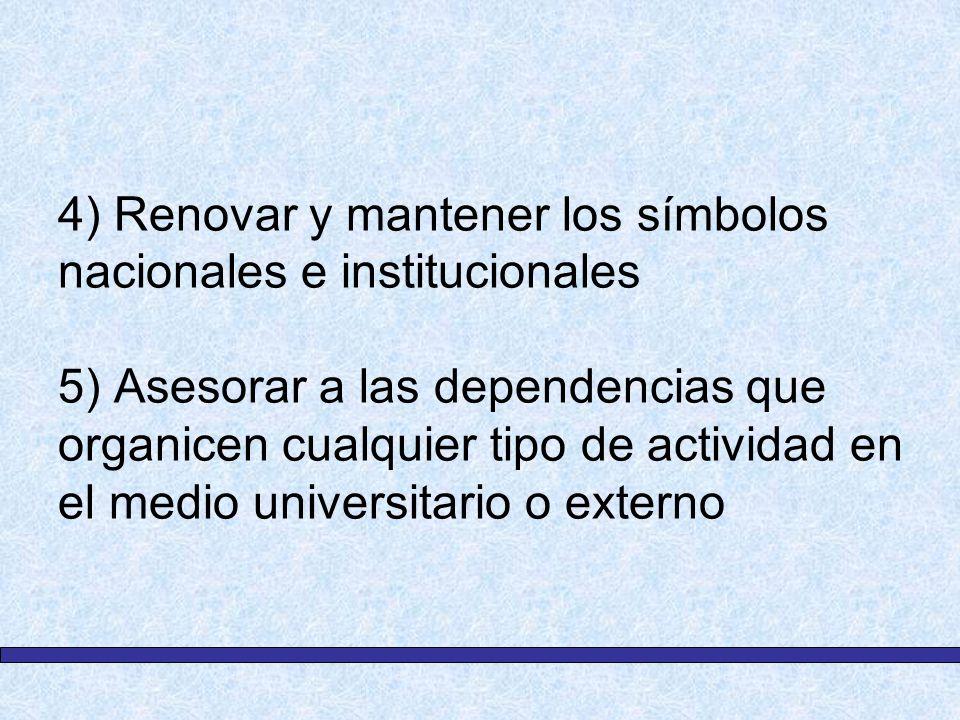 4) Renovar y mantener los símbolos nacionales e institucionales 5) Asesorar a las dependencias que organicen cualquier tipo de actividad en el medio u