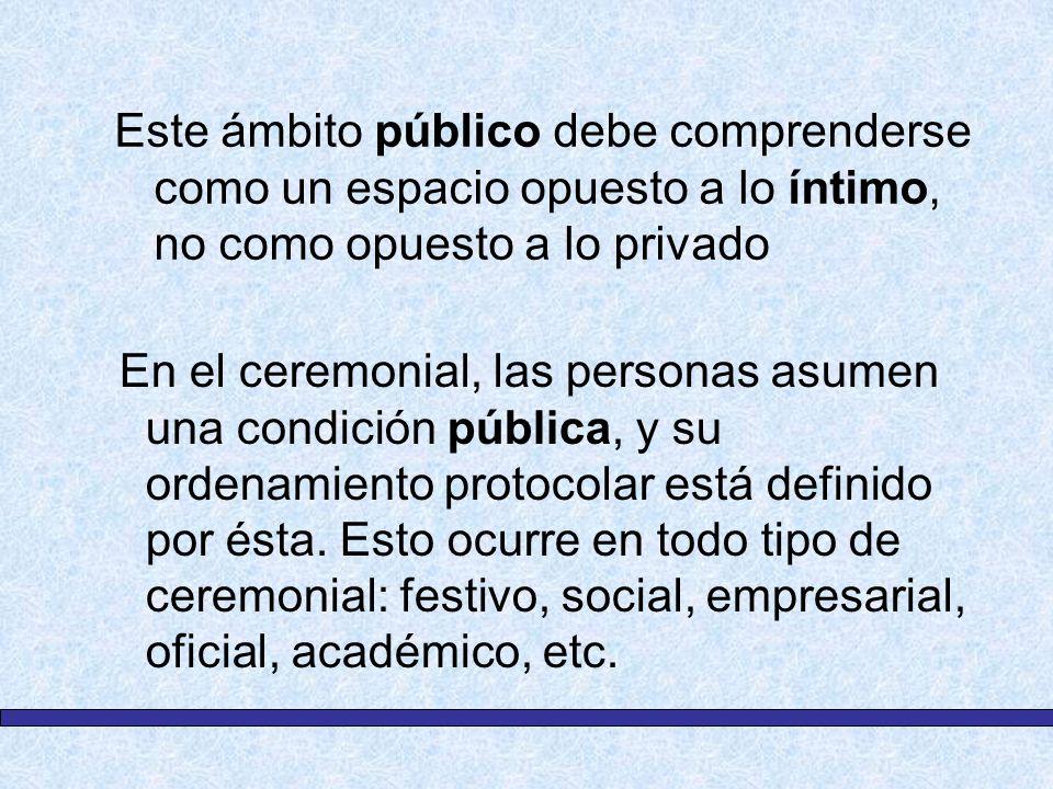 Este ámbito público debe comprenderse como un espacio opuesto a lo íntimo, no como opuesto a lo privado En el ceremonial, las personas asumen una cond