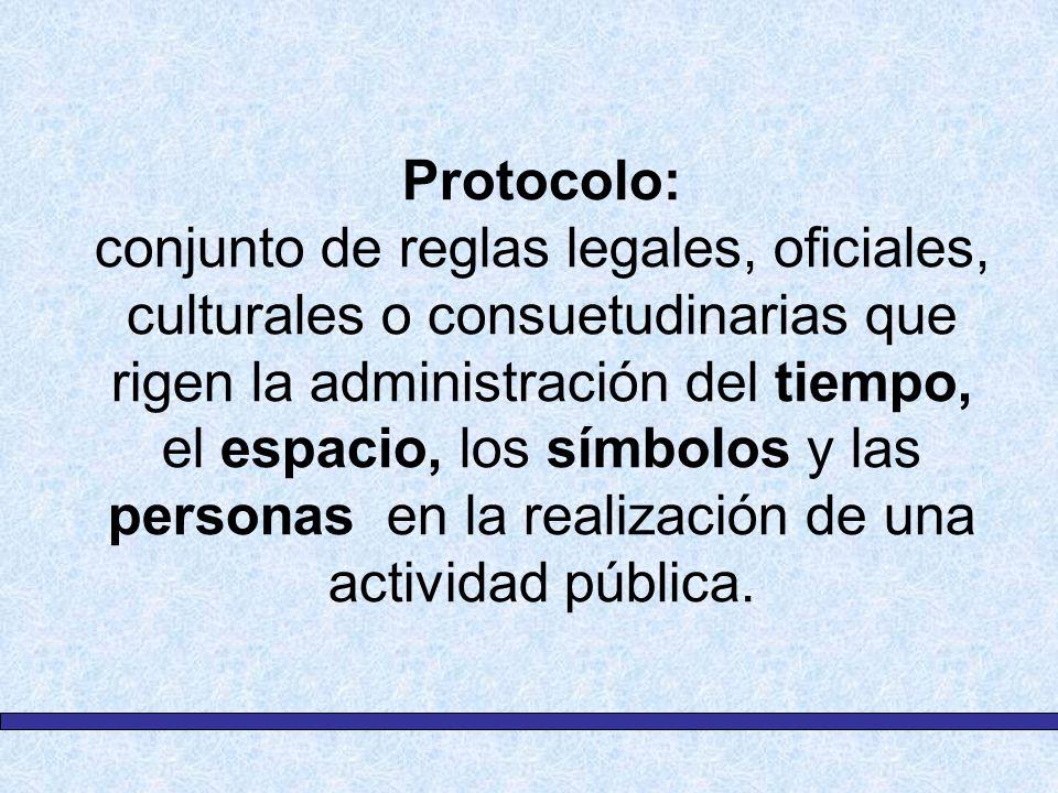 Protocolo: conjunto de reglas legales, oficiales, culturales o consuetudinarias que rigen la administración del tiempo, el espacio, los símbolos y las