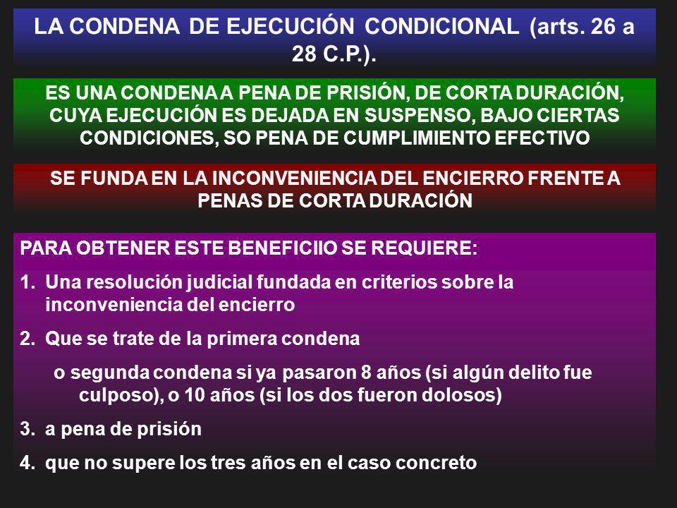 LA CONDENA DE EJECUCIÓN CONDICIONAL (arts. 26 a 28 C.P.). ES UNA CONDENA A PENA DE PRISIÓN, DE CORTA DURACIÓN, CUYA EJECUCIÓN ES DEJADA EN SUSPENSO, B