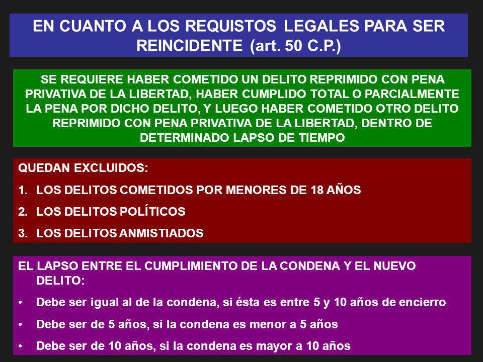 EN CUANTO A LOS REQUISTOS LEGALES PARA SER REINCIDENTE (art. 50 C.P.) SE REQUIERE HABER COMETIDO UN DELITO REPRIMIDO CON PENA PRIVATIVA DE LA LIBERTAD