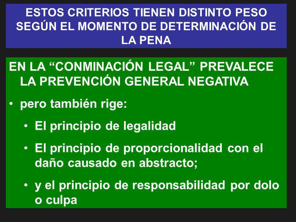 ESTOS CRITERIOS TIENEN DISTINTO PESO SEGÚN EL MOMENTO DE DETERMINACIÓN DE LA PENA EN LA CONMINACIÓN LEGAL PREVALECE LA PREVENCIÓN GENERAL NEGATIVA per